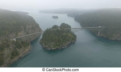 High Above Deception Pass Puget Sound Whidbey Island -...