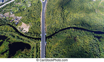 High aerial drone view of a bridge running through the dense forest