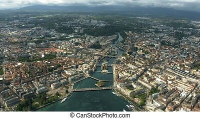 High altitude aerial hyperlapse of Geneva, Switzerland -...