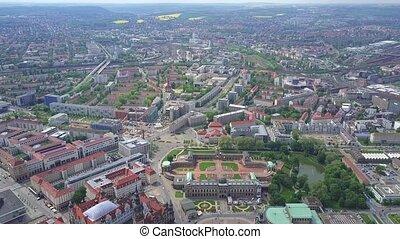 Dresden - High altitude aerial panoramic shot of Dresden