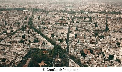 High altitude aerial panoramic shot of Paris cityscape, France