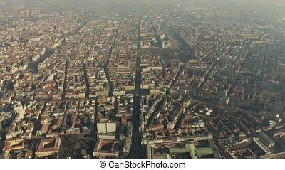 High altitude aerial shot of city of Milan