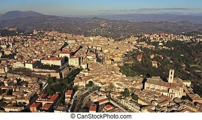 High altitude aerial shot of Perugia. Umbria, Italy