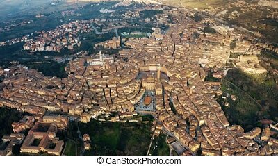 High altitude aerial shot of the city of Siena. Tuscany,...