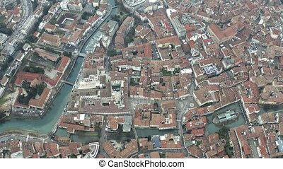 High altitude aerial shot of Treviso centre, Italy - High...