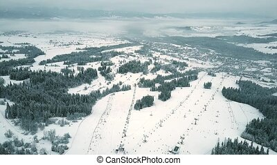 High altitude aerial view of a mountain ski slopes in southern Poland, the Tatra mountains