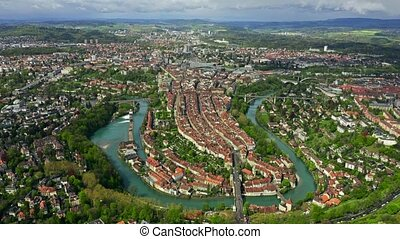 High altitude aerial view of Bern, Switzerland - High ...