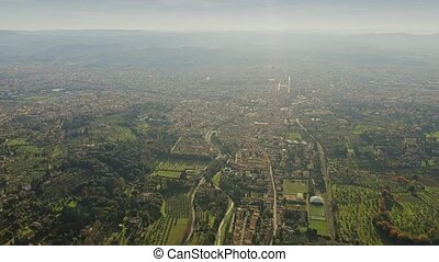High altitude aerial view of Florence cityscape, Italy -...