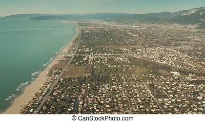 High altitude aerial view of Forte dei Marmi. Tuscany, Italy...