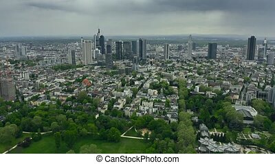 High altitude aerial view of Frankfurt am Main, Germany -...