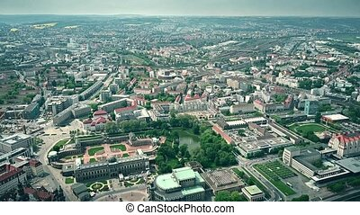 High altitude aerial view of historic part of Dresden, Germany