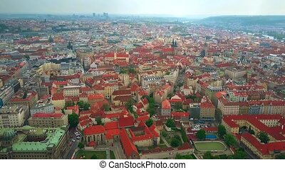 High altitude aerial view of Prague rooftops, the Czech Republic
