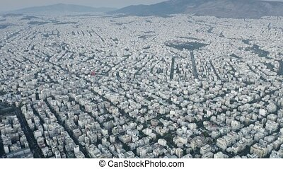 High altitude aerial view of the cityscape Athens in the evening, Greece