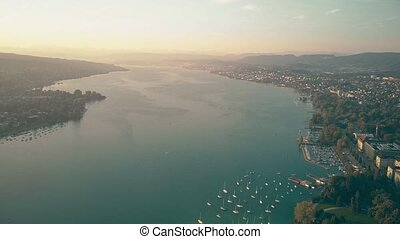 High altitude aerial view of the Zurich lake, Switzerland
