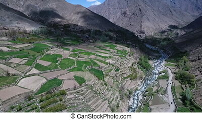 High Altitude landscape of mountain valley with two lane...