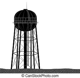 High and large water tower from the USA. Black on a white background. Water supply or plumbing.