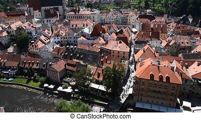 High angle aerial view Cesky Krumlov, Czech - High angle...