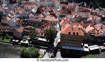 High angle aerial view Cesky Krumlov, Czech - High angle ...