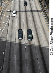 High angle view of hte Harbor Freeway in Los Angeles
