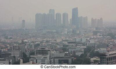 high angle jakarta city view
