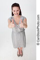 High angle of a businesswoman with thumbs up