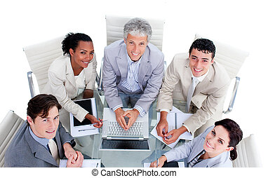 High angle of a multi-ethnic business team in a meeting