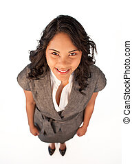 High angle of attractive smiling businesswoman