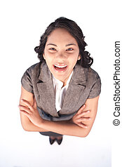 High angle of businesswoman laughing at the camera