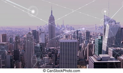 High angle of busy city - Digital composite of city at a ...