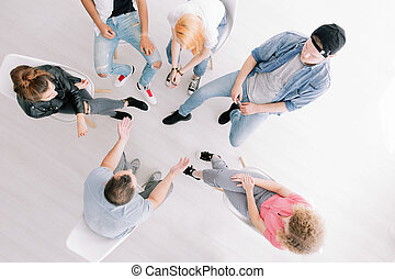 High angle of group therapy