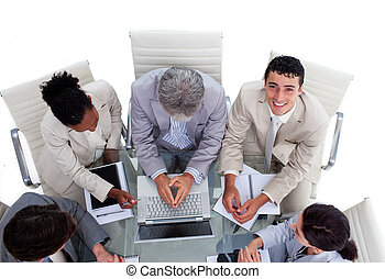 High angle of multi-ethnic business people in a meeting