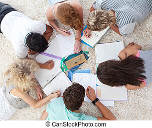 High angle of teenagers studying together