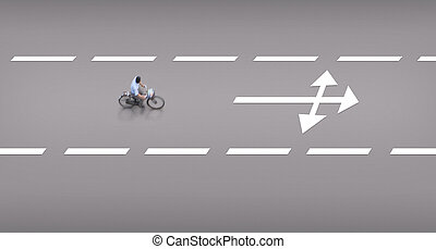 High angle photo of cyclist on cycling path, with arrow sign in front, indicating different choices in life
