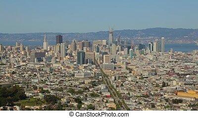 High angle panorama over San Francisco downtown