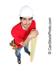 High-angle shot of a carpenter
