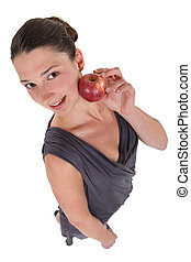 high angle shot of woman with apple