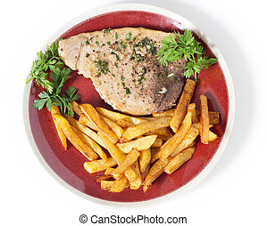 High angle swordfish and chips
