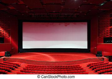 high-angle, synhåll, av, avskärma, och, ror, av, komfortabel, röd, stol, in, belysa, röd, rum, bio