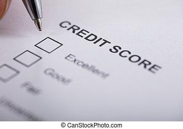 Person Filling Credit Score Form