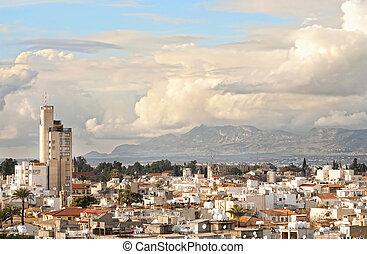 High angle view at Nicosia city. Cyprus