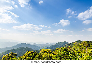 High angle view blue sky over mountain from Panoen Thung...