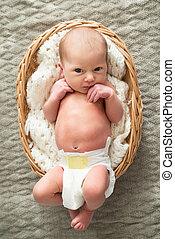 Baby Girl Lying In Wicker Basket