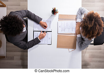 Male Manager Interviewing Female Applicant