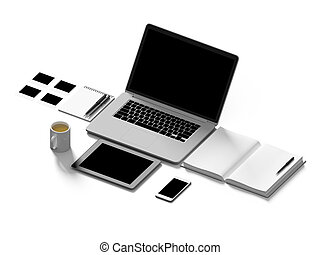 High angle view of a setting table of business workplace. -...