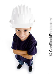 high angle view of adorable architect on an isolated white...