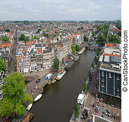 Amsterdam - high angle view of Amsterdam, the dutch capital...
