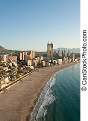 High angle view of Benidorm coastline, Alicante, Spain