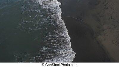 High Angle View Of Black Sand Beach, Bali, Indonesia