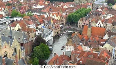 High angle view of Bruges, Belgium, with its traditional buildings and canals.