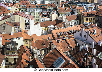 high angle view of building roofs in Prague old town